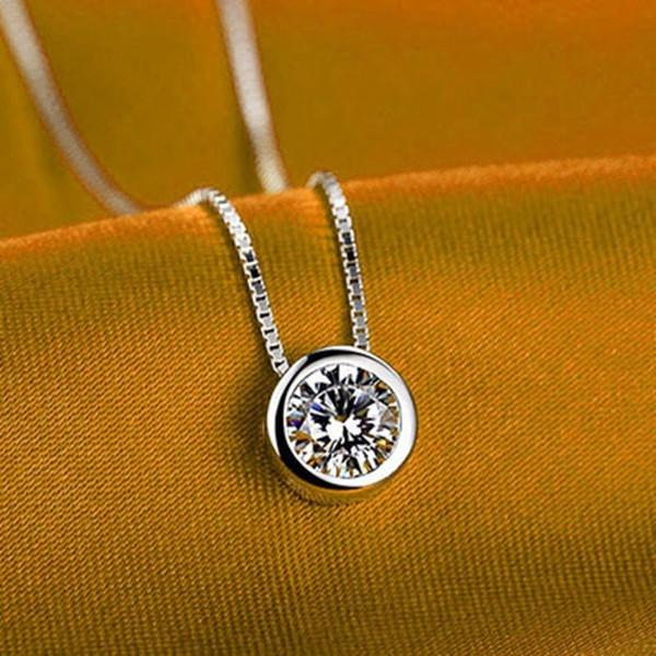1Pc Single Delicate Round Rhinestone Silver Planted Pendant Fashion Stylish Necklace Beautiful Long Chain Pendant Necklaces