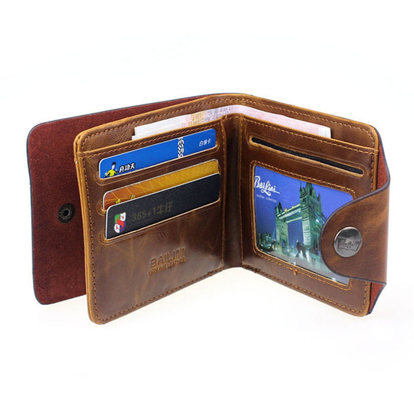 Men Hasp Wallet PU Leather Purse Trifold Wallets For Man High Quality Big Capacity Credit Crad Holders Money Bag Cheap Vintage