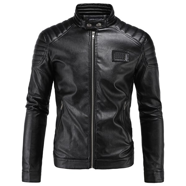 2018 Slim Leather Jacket Hombres Stand Collar Chaqueta de piel de oveja de Diseño Corto de Cuero Masculino jaqueta de couro masculina 5XL