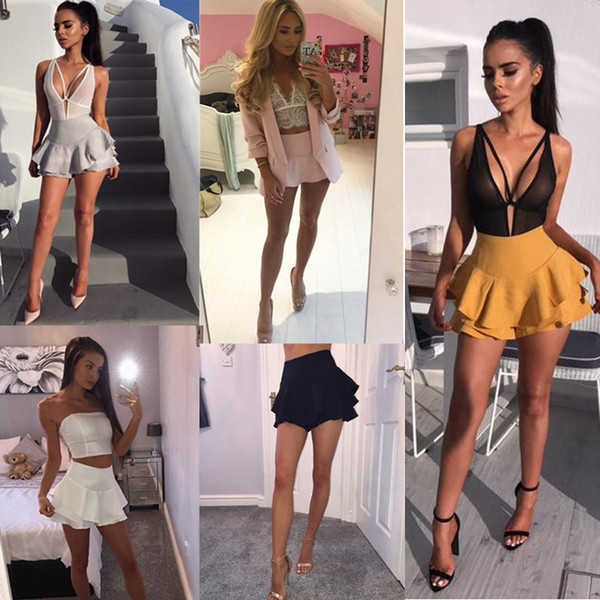 top popular High Waist Shorts Skirts Women Solid Mini Ruffles Hem Pleated Skirt Shorts Women's Layered Skirt Style Shorts Female 9 Colors 5044 2021