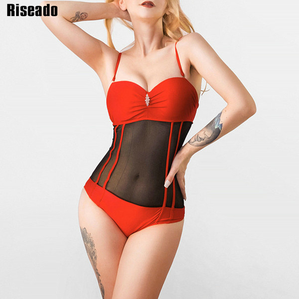 wholesale Sexy Transparent Mesh Swimwear Women 2018 One Piece Swimsuit Push Up Beachwear Strap Summer Bathing Suits
