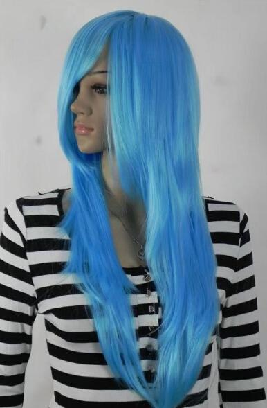free shipping Womens Long Straight lblue color Wig Heat ResistanAAA blue Color curls wavy hair Wig No bangs+Wig Cap