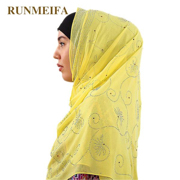 2018 design Muslim hijab Inlaid acrylic rhinestone chiffon scarfs for ladies Bufandas islamic women brand luxury muffler shawl