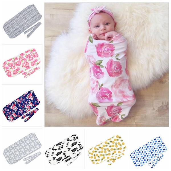 Baby Sleeping Bag Rabbit Ear Hairband Set Newborn Anti-kicking Cocoon Sleep Sacks Knotted Bow Headbands Swaddling Blankets 0-3 Month YL644