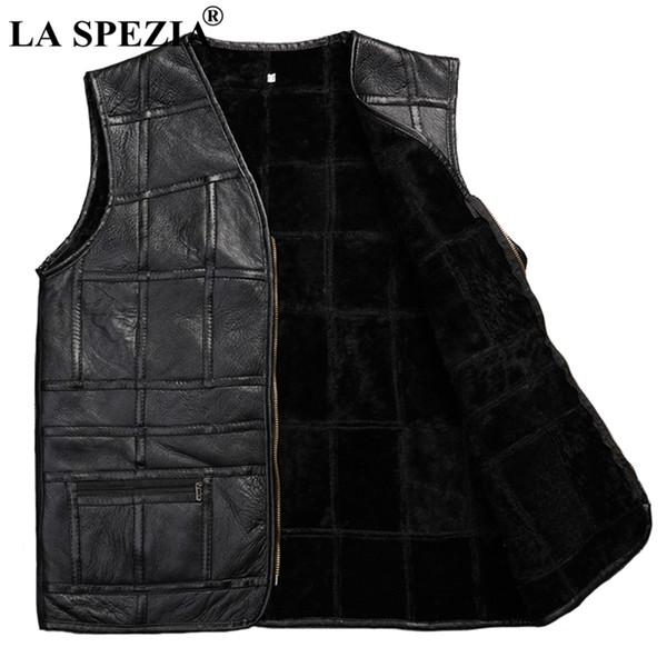 LA SPEZIA Mens Warm Vest Winter Waistcoat Fur Real Leather Black Vests Male Plus Size Autumn Coat Luxury Sleeveless Jacket 2018