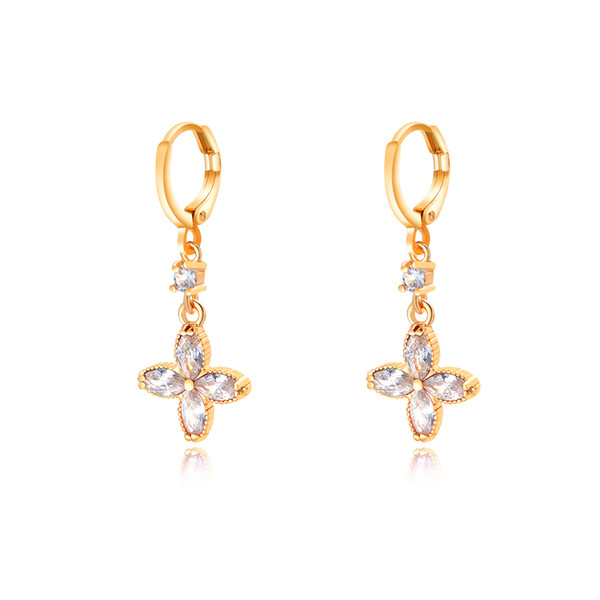 Romantic Jewelry Women Colorful/White CZ Crystal Earrings For Wedding Gold Color Flower Earrings Jewelry Accessories