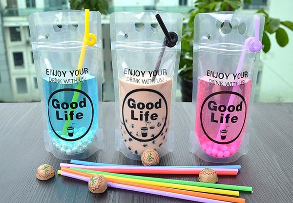 1000pcs 450-500ml Clear Plastic Drinking Packaging Pouch Beverage Juice Coffee Bag Good Life Summer Beverage Pouches SN1097