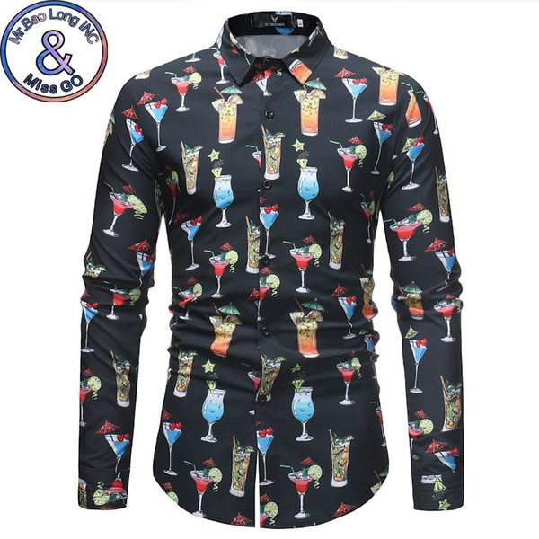 Men Slim Fit Long Sleeve Shirt Mens Party Holiday Hawaiian Shirt 2018 Fashion Causal Button Down Dress Shirts Men Brand Clothing