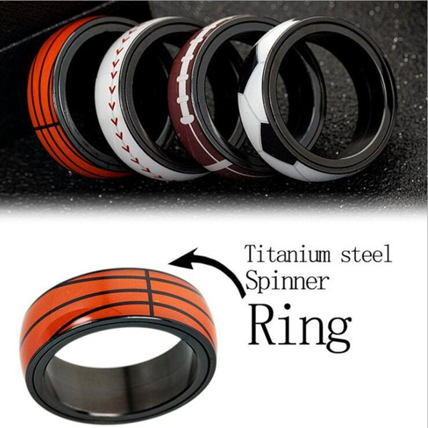 Fashion Men Football Basketball Titanium Steel Ring Outdoor Sports Jewelry Wedding Party Rotating Ball Band Rings Gifts Wholesale Hot Sale