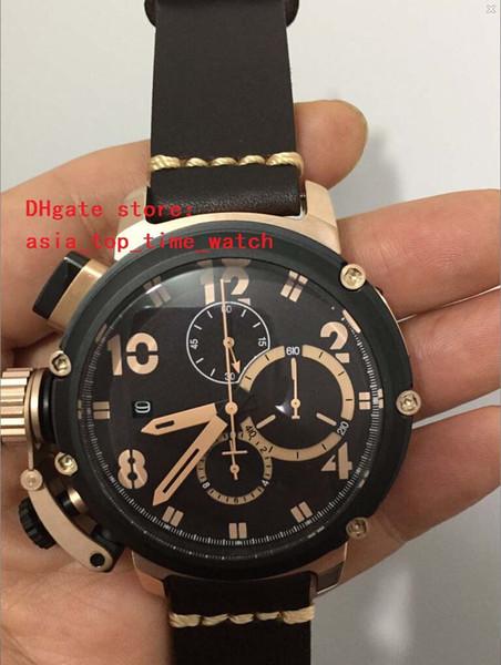 Luxury Super 48 mm Quartz Chronograph chimera U-51 High Quality Rose gold black Dial Sapphire Mirror fashion men watch