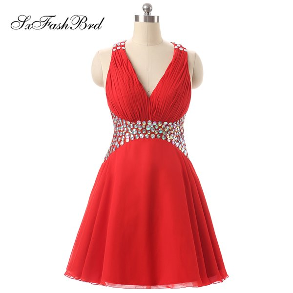 Elegant Evening Dress Sexy V Neck With Crystals A Line Mini Short Chiffon Red Party Formal Evening Dresses Gowns for Women Prom Dress