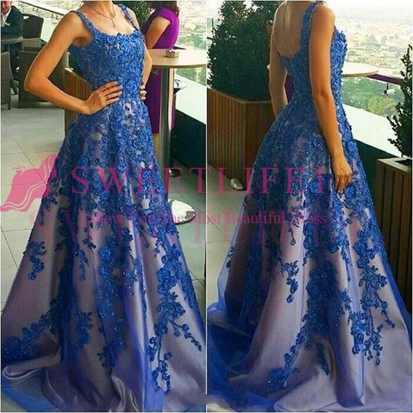 2019 Royal Blue Beaded Prom Dresses with Appliques Formal Evening Party Gowns Long Dress Handwork Vestidos de Fiesta