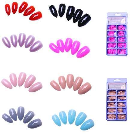 100 unid Stiletto Fake Nails Diseños Faux Ongles Full Cover Falsas Uñas Consejos Artificiales 8 Colores diferentes Opcionales Uñas Salon