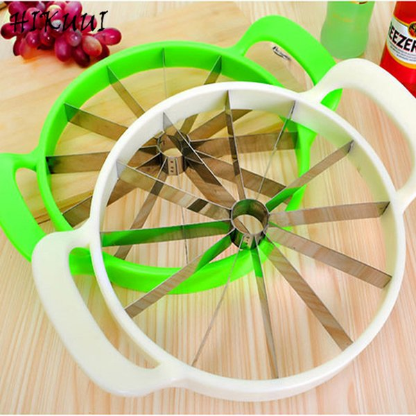 Kitchen Practical Tools Creative Watermelon Slicer Melon Cutter Knife 410 Stainless Steel Fruit Cutting Slicer White And Green