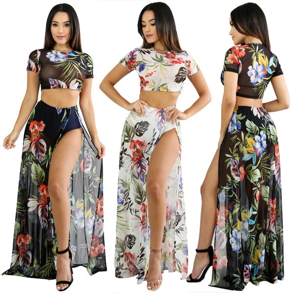 Women Floral Printed Two Pieces Outfits Summer Short Sleeve Crop Top and Side High Split Long Maxi Dress See Through Mesh Two Pieces Sets