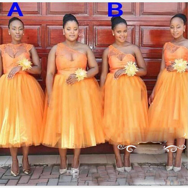 Plus Size Sheer One Shoulder Ball Gown Tea Length Bridesmaid Dresses Orange  Jewel Neck African Party Maid Of Honor Dress For Wedding Bridesmaid ...