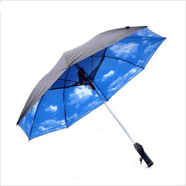 Parapluie à long manche avec ventilateur