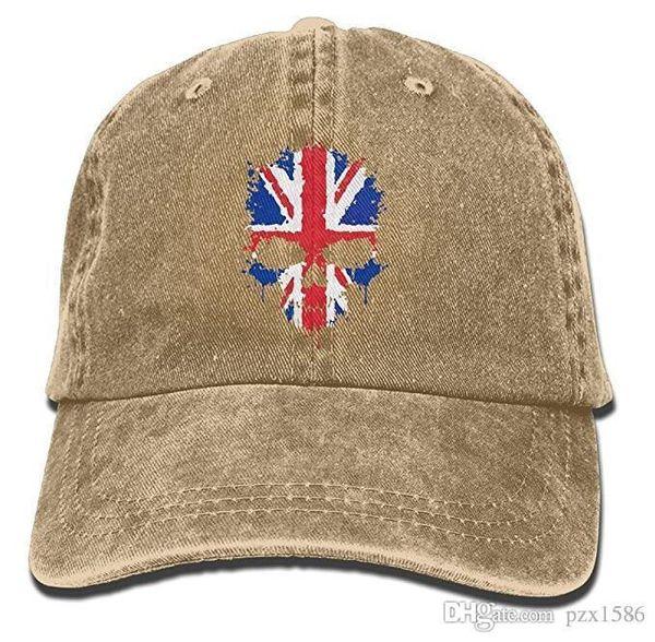 pzx@ Baseball Cap For Men and Women, British Flag Skull Women's Cotton Adjustable Jeans Cap Hat Multi-color optional