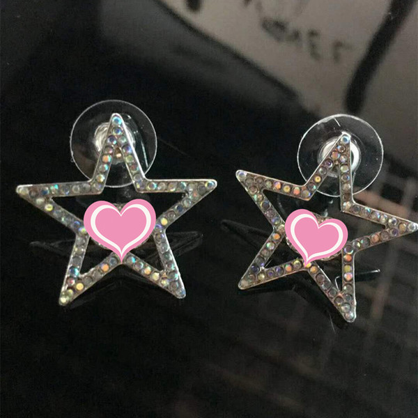 Fashion Women Earrings White Gold Plated Sparky Colorful CZ Star Earrings for Girls Women for Party Wedding Nice Gift