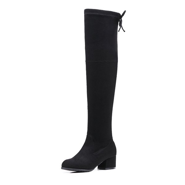 2018 New Faux Suede Slim Boots Sexy Over the Knee High Women Fashion Trend Winter Thigh Boots Shoes HF004