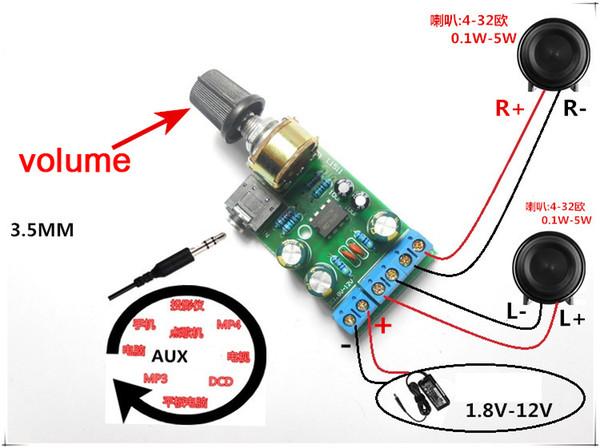Freeshipping Mini DC 3.7~12V 5V TDA2822M 2.0-CH Stereo Audio Power Amplifier Board 3.5mm AUX