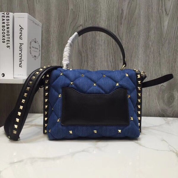 Top Quality Ladies Rivet Diamond Lattice Crossbody Bags Casual Tote Handbag Satchel Shoulder Purse Flap Messenger With Wrist Bag