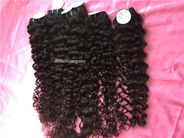 Raw Indian Hair Bundles Ocean Curly 3 bundles/lot No Chemical Natural HarExtensiones Can Be Dyed Any Color