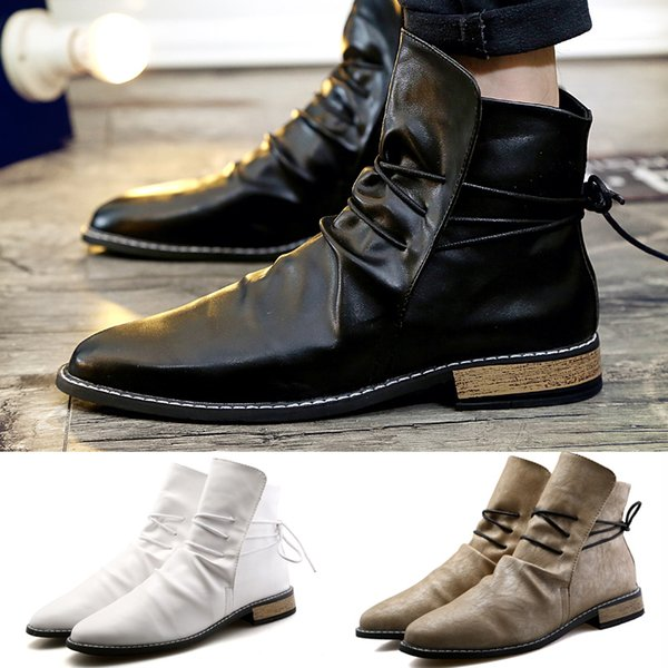 Classic Men's Winter Fashion Casual Leather Maritin Boots Pointed Toe Cowboy Boots British Style Motorcycle Boots High Top Leather Shoes