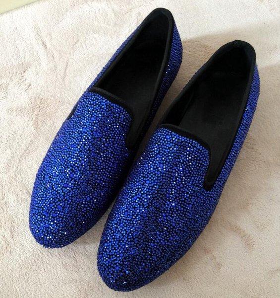 Mocassins de haute qualité bleu en cuir véritable zanot strass slip-on hommes Casual chaussures robe de soirée taille 38-46