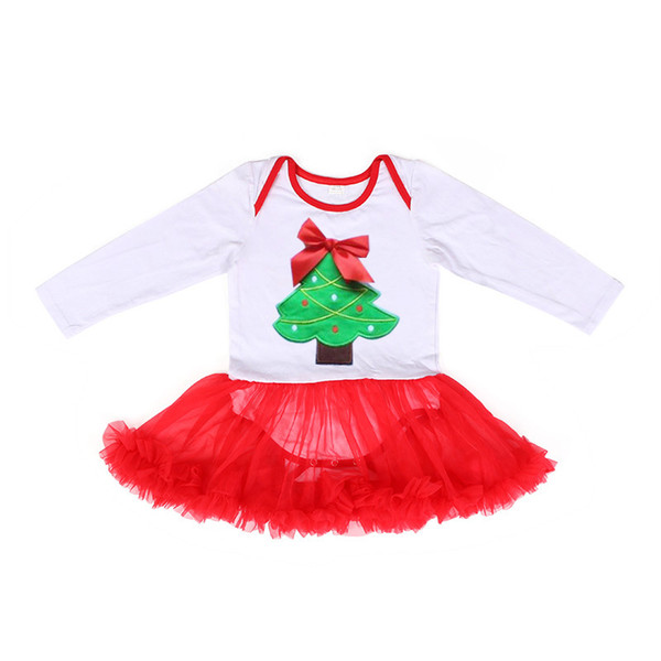 Christmas Tree Baby Romper Dress Xmas Printed Jumpsuits Lovely Kids Children Infant Climbing Clothes