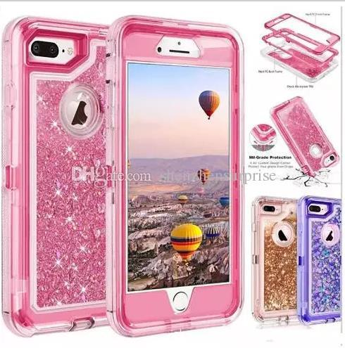 High quality bling crystal Liquid glitter case 360 degree cellphone protector Defender rugged shockproof waterproof phone case back cover 10