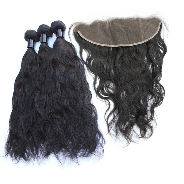 3 Bundles Brazilian Natural Wave Hair Bundles With Lace Frontal Closure Pre Plucked Cheap Unprocessed Virgin Human Hair Weaves Natural Color