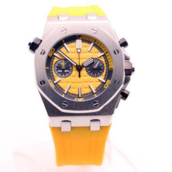 Discount Price Royal Oak Offshore Diver Chronograph Stop Yellow Rubber Watches Stainless Steel Case Yellow Dial 44mm Mens Wristwatch