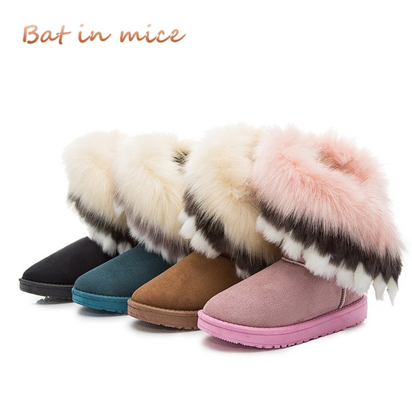 2018 winter new women boots casual rabbit fur warm flats boots women fashion lady snow shoes Mujer 4 colors A100