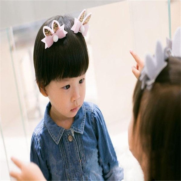 1pc Rabbit Ears Bow-knot Hair Pins Hair Clip for Child Girls Headwear Headdress