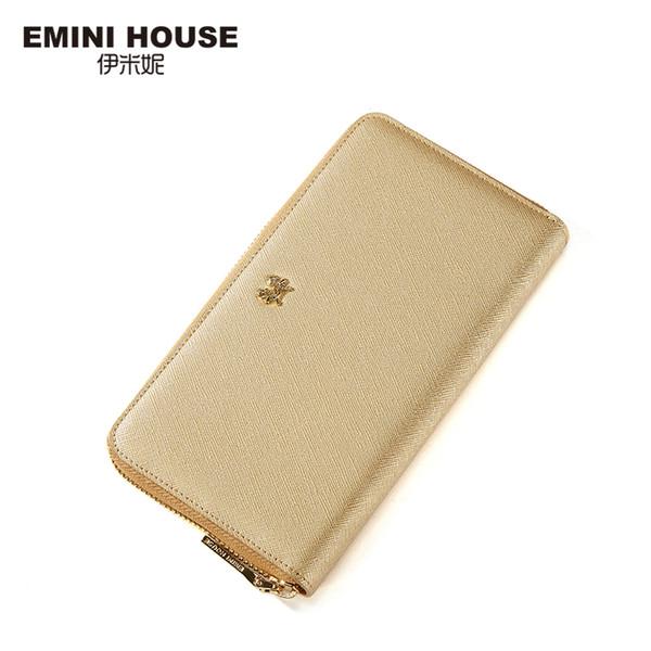 EMINI HOUSE Elegant Split Leather Long Wallet Fashion Multifunction Women Wallets Card Wallet Holder Women Coin Purse 3 Colors