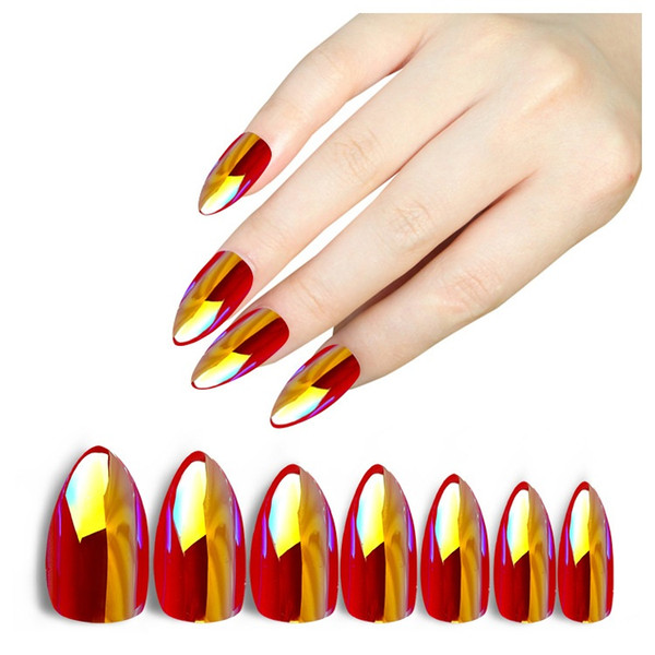 top popular 28Pcs Holographic Stiletto False Nails Tips Mirror Chrome Pigment Effect UV Gel Fake Nail Art Tools 2019