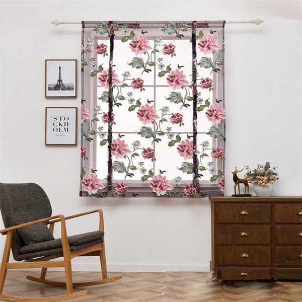 best selling Multi Size Peony Roman Curtain Flower Lace Tulle Woven Window Curtain Home Room Decor
