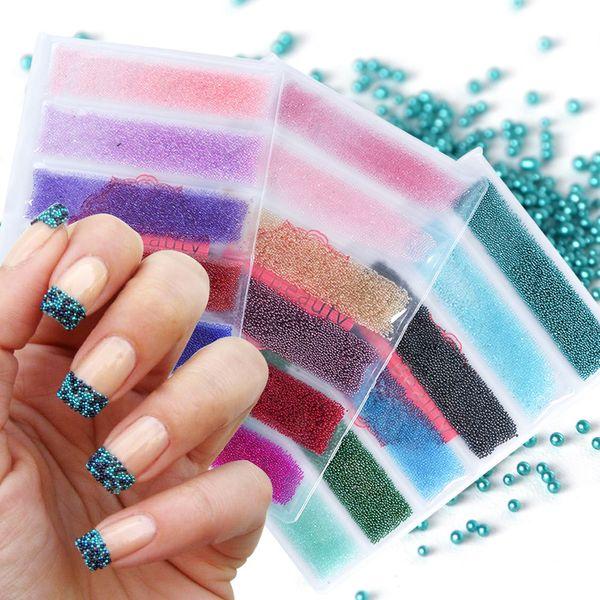 1 Pack Mini Caviar Beads 3D Charms Rhinestone Micro Tiny Nail Art Decoration Mixed Color Glitter Nail Studs Accessories JI706