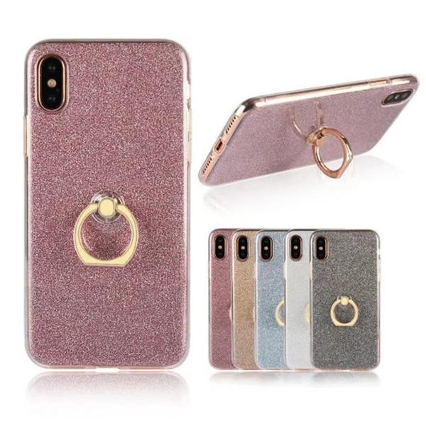 Titulaire Glitter Bling Case Nouveau Défenseur Couverture Arrière Pour iPhone X 8 7 6 6S Plus 5 5S SE Porte-Anneau Doux TPU Silicon Cover