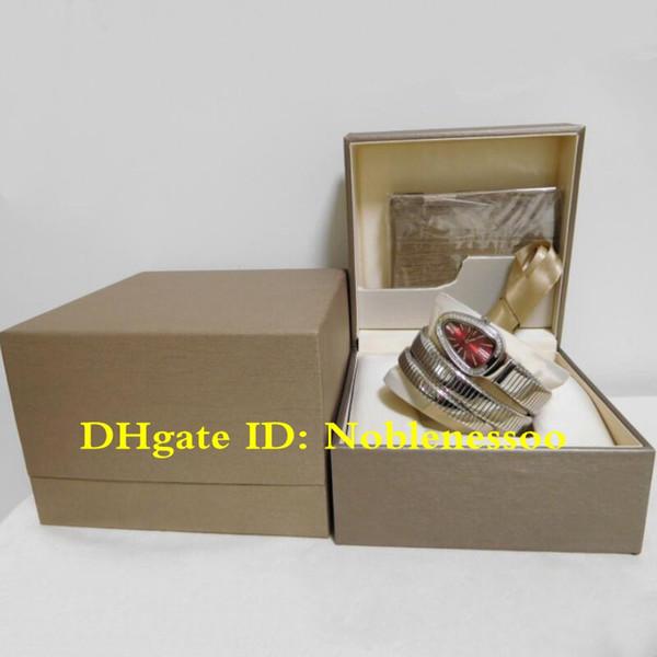 Color en Caja original Reloj de lujo para mujer Reloj Serpenti Tubogas rojo Dial Diamante Bisel Serpiente Acero Relojes de cuarzo para mujeres