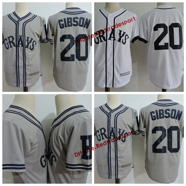 Mens 20 Josh Gibson Greys Jersey The Movie USA Negro Leagues NLBM Homestead Grays Cucito film Baseball Maglie bianche S-3XL