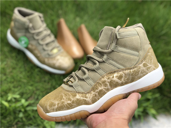 promo code 13961 177e5 2019 Release Air Jordan 11 Olive Lux Wheat Woman Basketball Shoes 11s Xi Gs  Gold Suede Sneakers Authentic With Original Box 378037 016 Sports Shoes ...