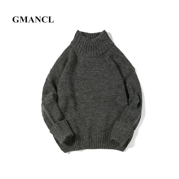 GMANCL Autumn and winter 2017 Men Long sleeves Knitted Sweater Casual Loose Men high quality Oversized Vintage Pullovers sweater