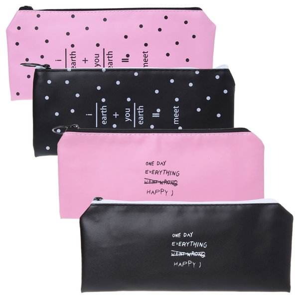 1 Set Cute Pencil Case Kawaii Black White Dot Faux Leather Pen Bag Stationery Pouch Cute Style