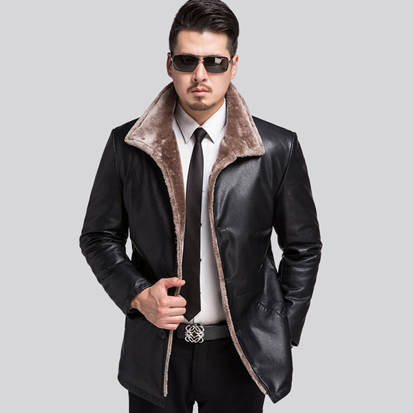Großhandel 2017 Neue Lederjacke Männer Marke Warme Winter Lederjacken Mäntel Hohe Qualität Jacke Pelz Männer XXXL Von Balsamor, $95.33 Auf