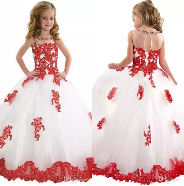 top popular Elegant Crew Neck Lace A Line Flower Girl' Dresses Tulle Applique Beaded Floor length Girls' Pageant Dresses 2019