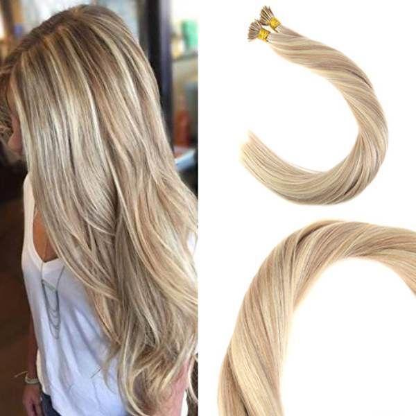 Balayage Human Hair I tip Extensions 18/613# I Tip Fusion Prebonded Hair Extensions Stick Keratin I Tip Hair 100g