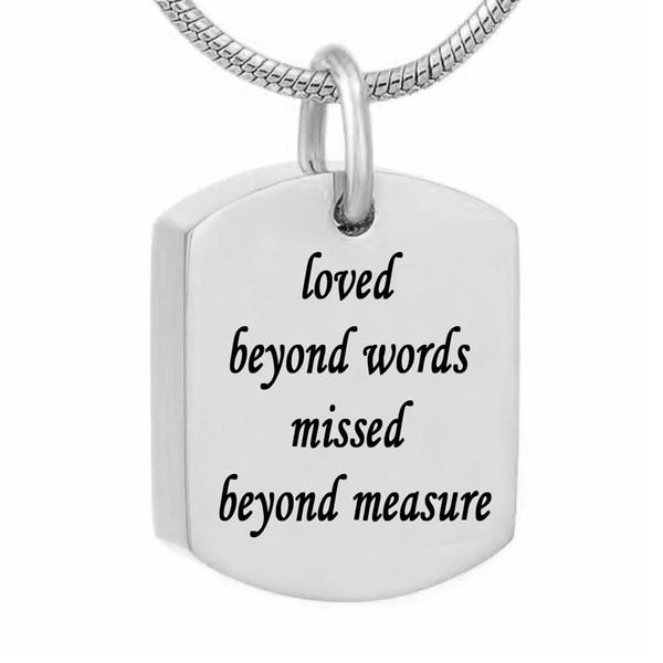 Quadratische Urne Halsketten für Asche Edelstahl Memorial Andenken Feuerbestattung Schmuck - unüberschaubare Worte