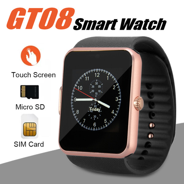 top popular GT08 Smart Watch Bluetooth Smartwatches For Android Smartphones SIM Card Slot NFC Health Watchs for Android with Retail Box 2020